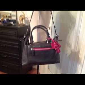 Coach charcoal grey tote with cranberry accents